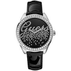 Guess W60006L5 Women's Party Diamonte Logo Dial Diamond Set Bezel Leather Strap Watch, Black ($145) found on Polyvore