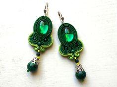 Soutache earrings Green Swarovski Glamour! de Soutache4You
