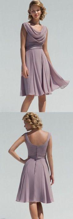simple knee length a-line/princess light purple chiffon knee length bridesmaid dress