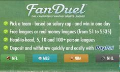 Make Money Playing Fantasy Sports NOW !!! Check This Out Daily CASH $$$
