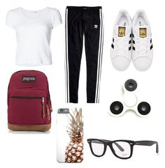 """What I Wore Everyday To School"" by naviere05 on Polyvore featuring adidas Originals, rag & bone, Madewell, JanSport and Ray-Ban"