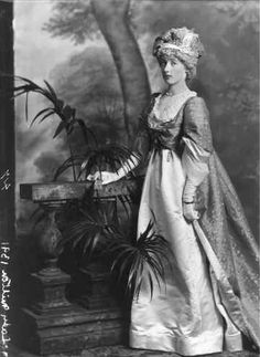 Florence, Lady Delamere, neé Cole (1878-1914), the fourth daughter of the 4th Earl of Enniskillen. She is modeling a late 1790s costume which she wore for the Devonshire (England) House Masquerade Ball, 2 July 1897.