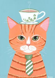 """""""Irish Cuppa"""" -Painted with Golden acrylics. Folk Art Acrylic Paint, Frida Art, Fancy Cats, Cat Cards, Ginger Cats, Cat Drawing, Coffee Art, My Animal, Wallpaper"""