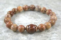 Morocco agate stacking stretch bracelet with sierra agate and antiqued copper accents by Earthwear Collection