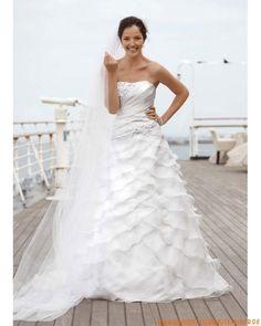 neue tolle ausgefallene Brautkleider  aus Organza und Satin trägerlosige Brautmode