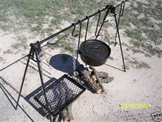A portable quadpod stand or rack which supports Dutch ovens and a grill over an open outdoor fire or a firepit.
