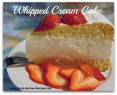 Baked sponge cake layers and a no-bake greek yogurt and whipping cream filling --- soooo WUNDERBAR! http://www.quick-german-recipes.com/recipe-for-cheese-cake.html