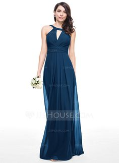 A-Line/Princess Scoop Neck Floor-Length Chiffon Bridesmaid Dress With Ruffle (007059442)