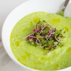 Creamy Cucumber & Avocado Soup from She Well
