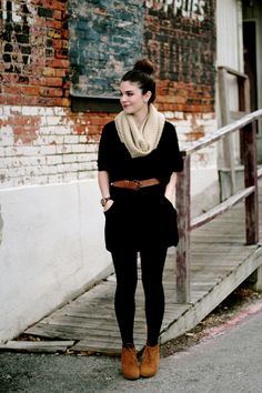 Wednesday - Black tights, grey metal button shirts with black n tan belt. With light tan scarf. And tan shoes.