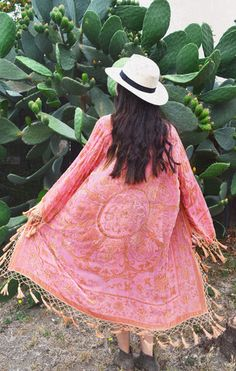 Gypset Medallion Velvet Burnout Tassel Kimono - Salmon - Saltwater Gypsy