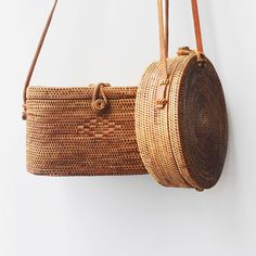 Handwoven bags: orchid vine woven by the indigenous Aga people in their village of Tenganan, on the island of Bali, Indonesia.
