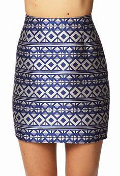 Metallic geometric blue/silver skirt