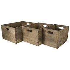 Wonderful Wooden Cedar Storage Bins With Metal Edges And Printed Side Panel (Set Of 3)