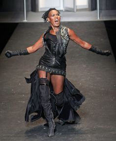 Grace Jones Grace Jones walks the runway at the DIESEL show in New York.