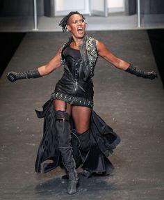 Grace Jones Grace Jones walks the runway at the DIESEL show in New York.