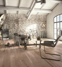 #Urban ma caldo e accogliente questo #loft con #pavimento SOLERAS Avana #abkemozioni posato nei listoni 20x170cm. #living #floor #ceramic #tiles #gres #porcellanato #ceramicwood #homedesign