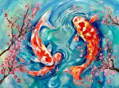 Fish Wall Art, Clay Wall Art, Fish Art, Koi Fish Drawing, Fish Drawings, Koi Painting, Painting Prints, Paintings On Canvas, Fish Paintings