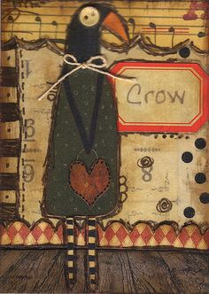 Old Crow ~ Primitive Artist Trading Card #atc