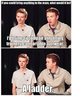 Thomas telling it like it is. Maze Runner.
