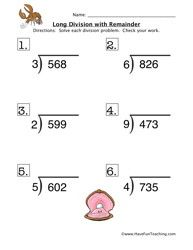 Printables Long Division Free Worksheets single digit long division no remainders worksheet printable remainder 1