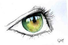 Green Eye in Watercolour by ~De1in on deviantART