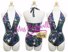 Boutique Bodysuit SML Blue Navy Multicolor Floral Cutout Back Halter Swimsuit #Boutique #OnePiece