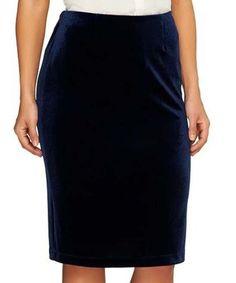 Look at this #zulilyfind! Navy Velvet Pencil Skirt - Plus Too #zulilyfinds
