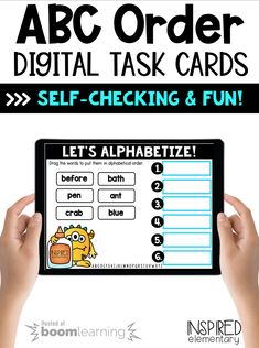 ABC Order: Alphabetize to the First & Second Letter Parts Of Speech Activities, First Grade Activities, Vocabulary Activities, First Grade Teachers, First Grade Classroom, Primary Classroom, Alphabetical Order, Student Learning, Task Cards