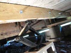 fixing sagging and rotten floor joists Foundation Repair, House Foundation, Mobile Home Living, Mobile Home Parks, Farmhouse Renovation, Home Renovation, Remodeling Mobile Homes, Home Remodeling, Small Log Homes