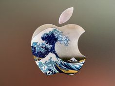 The Great Wave off Kanagawa Glowing Backlit Apple Logo for MacBooks 2 Decals per Order by WallMac on Etsy