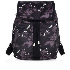 LeSportsac Shopper Botanical Nylon Backpack (857185 PYG) ❤ liked on Polyvore featuring bags, backpacks, apparel & accessories, botanical, flap backpack, floral print backpack, drawstring flap backpack, blue floral backpack and draw string backpack