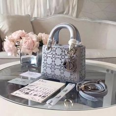 Lady Dior handbag in gray Luxury Purses, Luxury Bags, Cristian Dior, Bags Game, Dior Handbags, Dior Bags, Flower Bag, Dior Addict, Designer Wallets