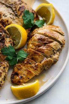 Lemon Balsamic Grilled (Or Pan-Fried) Chicken - Joyous Apron Grilled Lemon Chicken, Balsamic Chicken Recipes, Honey Lime Chicken, Pan Fried Chicken, Grilling Recipes, Cooking Recipes, Healthy Recipes, Healthy Meals, Yummy Recipes