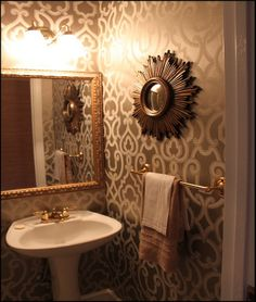 powder room -- like the small mirror over the towel rack