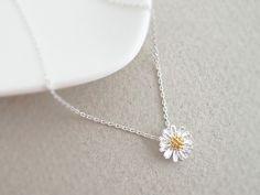 Daisy flower pendant necklace, daisy necklace, Everyday Jewelry, Bridesmaid Jewelry, flower girl jewelry. $13.50, via Etsy.
