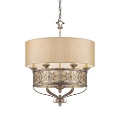 From Kenroy Home. This Six Light Drum Shade Pendant has a Silver Finish and is part of the Savonia Collection.
