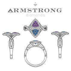 Husband/Wife birthstone engagement ring! Very sweet! #sapphire #amethyst…