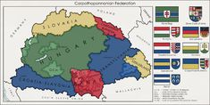 """Post with 0 votes and 8729 views. Proposed map of a federated Hungarian state """"Carpatho–Pannonian Federation"""" x Historical Maps, Historical Pictures, Hungarian Flag, Map Diagram, Imaginary Maps, European Map, Geography Map, Epic Art, Fantasy Map"""