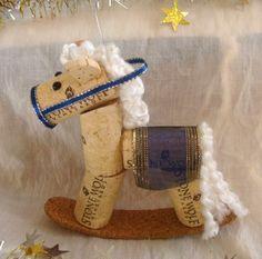 Wine Cork Rocking Horse Ornament White and Dark by TeaandSquirrels