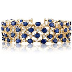 Effy Jewelry Effy 14K Yellow Gold Natural Blue Sapphire and Diamond... (77.700 BRL) ❤ liked on Polyvore featuring jewelry, bracelets, 14 karat gold bangles, diamond jewellery, 14k bangle, gold jewelry i gold diamond bangle