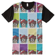Shop Where's Waldo Colorful Pattern All-Over-Print T-Shirt created by WheresWaldo. Personalize it with photos & text or purchase as is! Wheres Wally, Stylish Shirts, S Shirt, Color Patterns, Custom Design, Print Design, Colorful, Prints, Cotton