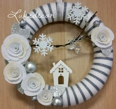 Christmas Winter White Silver Yarn Felt Wreath with White Roses and wood house - https://www.facebook.com/Luksdecor
