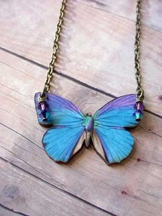 Blue and Purple Butterfly Pendant Moth Necklace von MySelvagedLife, $22,00