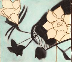 Narcissus Silhouettes drawn using bister ink, charcoal and pastel on paper, in the garden this past spring of 2015.
