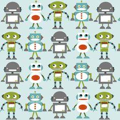 Robot Friends Blue fabric by natitys on Spoonflower - custom fabric