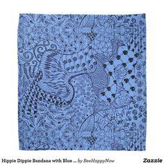 Hippie Dippie Bandana with Blue Zentangle Design