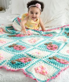 Bugs and Blooms Blanket Free pattern on redheart.com