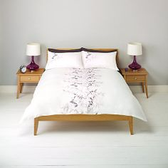 Buy John Lewis Embroidered Leaves Duvet Cover and Pillowcase Set Online at johnlewis.com