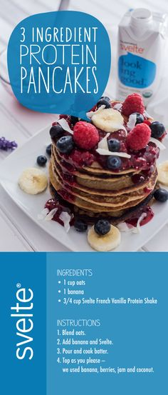 You MUST TRY this amazing vegan and gluten-free Protein Pancake Recipe! Only 3 ingredients. So easy and so tasty! #DrinkSvelte   DrinkSvelte.com   Healthy Breakfast   Gluten-Free   Vegan   Organic Living